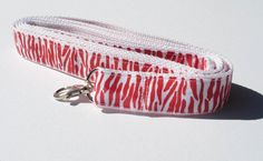 Red and White Zebra print Dog Leash by CookiesDogHouse on Etsy
