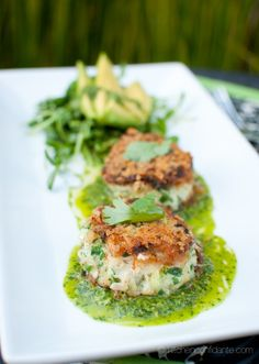 Crab Cakes with Chimichurri Dressed Pea Sprouts & Avocado - Reminds me of an appetizer at an amazing restaurant in NJ