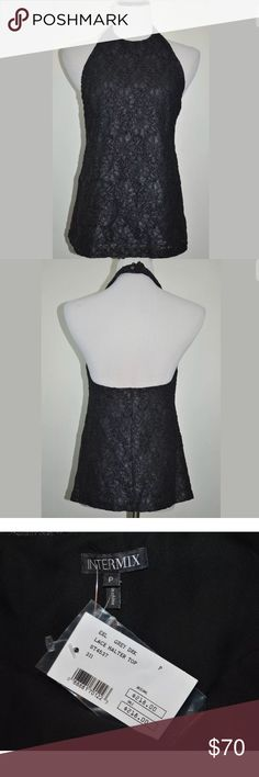 """👚Lace Halter Top Blouse by Intermix Exclusive INTERMIX Exclusives Halter Top Blouse Shirt   Size- P (Size 0 ) color- Grey Dark or Black  Material- Cotton Blend, Lining- 100% Silk   New With Tag~ Never Worn  APPROXIMATE MEASUREMENT ( lying flat) Armpit to Armpit & Bust-15"""" across From Armpit to Hem-14.5"""" Feel free to Send Offer!!!  658 Intermix  Tops Blouses"""