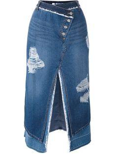 Steve J & Yoni P Saia jeans assimétrica