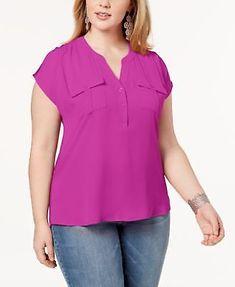 bdb7807f967 INC International Concepts Womens Plus Size Short-Sleeve Blouse Port 2X   INCInternationalConcepts  Blouse