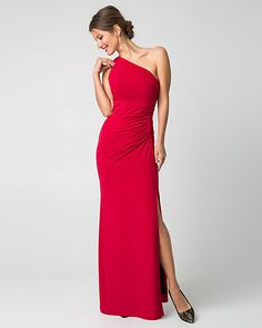 Stretch Knit One Shoulder Gown
