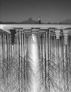 Thomas Barbey - surreal, chessboard upside down, man on top, (...obelisk with light beam)