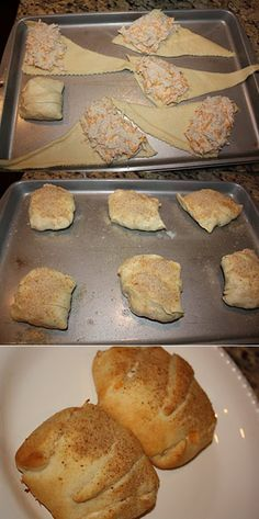 + Chicken Roll Ups -- Chicken Roll Ups (chicken, cheese, cream cheese, and a packet of Hidden Valley Ranch powder) AMAZING!!