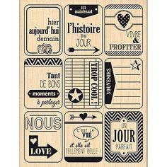 Border Line - Tampon Bois - Neuf Etiquettes - 9 x 12 cm                                                                                                                                                                                 Plus Album Photo Scrapbooking, Tampon Scrapbooking, Old Paper, Vintage Paper, Mr Printables, Etiquette Vintage, French Phrases, Project Life Cards, Planner Layout