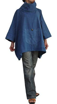 ジョムトン手織り綿のハイネックポンチョプルオーバー  BFS-122-03