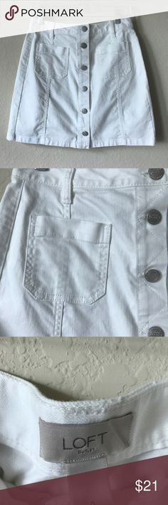 Loft white wash jean skirt Two pockets on front and back, button down look is so in right now! LOFT Skirts Mini