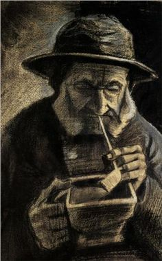 …Vincent van Gogh Fisherman with Sou'wester, Pipe and Coal-pan