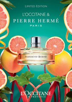 Pamplemousse Rhubarb L`Occitane en Provence perfume - a new fragrance for women and men 2015 Creative Advertising, Advertising Poster, Advertising Design, Perfume Ad, Perfume Bottles, Occitane En Provence, Beauty Ad, Cosmetic Design, Cosmetic Packaging
