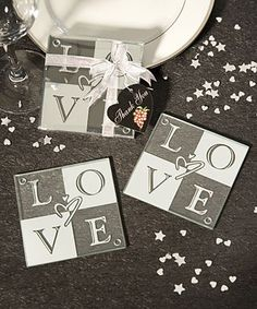 LOVE+Glass+Coasters+(Set+of+2)