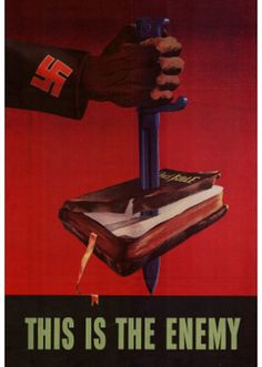 This is one of the Nazi propaganda posters and in it says that the bible is the enemy. Nazi Propaganda, Patriotic Posters, Les Aliens, Ww2 Posters, Retro Posters, Movie Posters, Poster Vintage, World War Ii, Caricature
