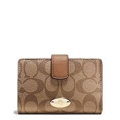 Women's Wallets - Coach F53562 Medium Corner Zip Wallet in Signature Brown Black *** Click image for more details.