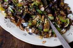 Lentil Almond Stir-Fry Recipe (looooove love love this recipe. i skip the yogurt sauce to make it vegan!)