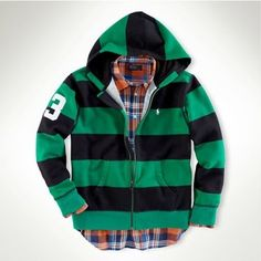 Polo Ralph Lauren Mens Rugby Stripe Zip Hoodie English Green Multi