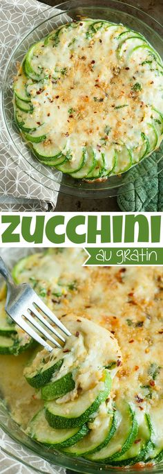 Zucchini Au Gratin - topped with freshly grated cheddar and cheeses then baked to bubbly perfectionThis seasonal side dish is easy and cheesy!
