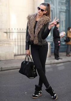 YES! Great outfit! Sneaker wedges and fur!