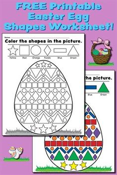 """Help your students become familiar with common shapes while learning color recognition and fine motor skills with this """"color the shapes"""" worksheet! activities for all ages Easter Egg Shapes Worksheet & Coloring Page! Easter Worksheets, Shapes Worksheets, Seasons Worksheets, Preschool Worksheets, Easter Activities For Kids, Preschool Ideas, Preschool Crafts, Shape Coloring Pages, Easter Egg Coloring Pages"""