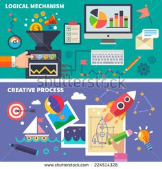 Logical mechanism and the creative process. Left and right hemispheres of the brain. Vector flat illustration - stock vector