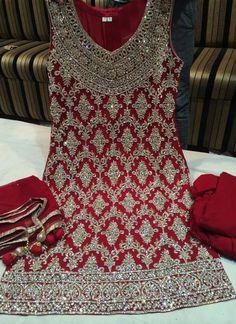 Designer Red Heavy #HandWork #SalwarKameez Visit:http://www.indiansareestore.com/made-to-order/106-Red-Handwork-Salwar-Kameez