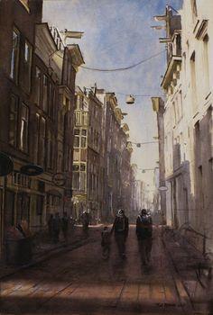 Titus Meeuws impressionist - Warmoesstraat Amsterdam. Aquarel 90 x 70 cm