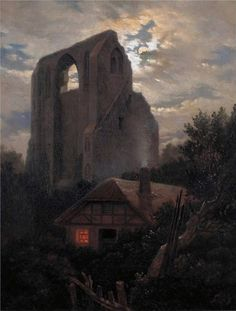 "Carl Gustav Carus (1789–1869), ""Eldena Ruins with cottage near Greifswald in Moonlight"" (1820)"