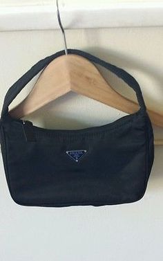 dfd5561b68cd Prada Small Black Nylon Pochette Shoulder Handbag EUC