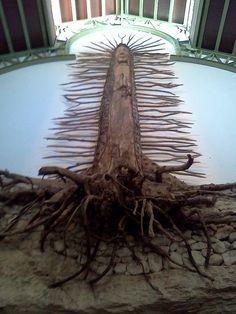 Virgin Mary Tree Carving inside Church by jtemplerobinson, via Flickr Playa del Carmen Mexico Xcaret Park