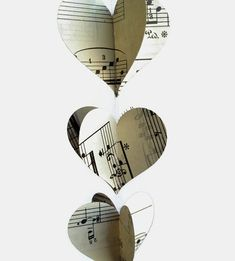 picture of sheet music in a heart | Vintage Sheet Music Heart Garland