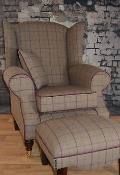 Wing Back Fireside Cottage Armchair - Bamburgh Brown Check Footstool + Cushion Cottage Living Rooms, Living Room Green, My Living Room, Living Room Chairs, Tartan Chair, Custom Slipcovers, Small Hallways, Stylish Chairs, Decoration