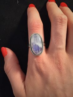 Sterling Silver Moonstone Ring. Size 9 by BellaRubyJewelry on Etsy