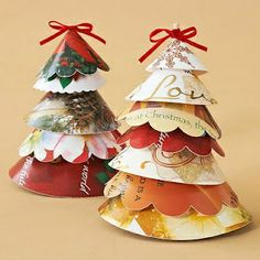 christmas decorations with old christmas cards | Trees made out of old Christmas cards!! | Fall & Winter Decorating