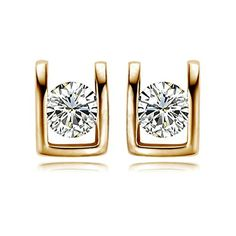 Yoursfs Fashion 18k Rose Gold Plated Cubic Zirconia CZ Stud Earring - Jewelry For Her