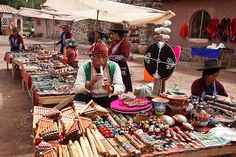 Market in Raqchi, an Inca archaeological site in the Cusco region in Peru also known as the Temple of Wiracocha.