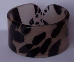 Beige Brown Tan Black Leopard Animal Print Cuff Bangle Bracelet