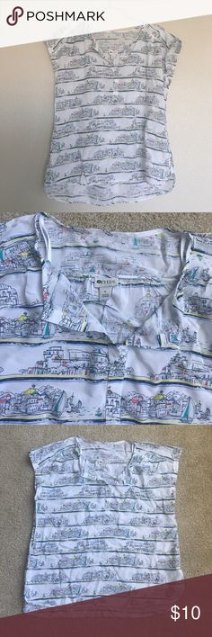 Adorable summer top Summer top with cute seaside imagery. In excellent condition. Size is XL or 16 Stylus Tops Blouses