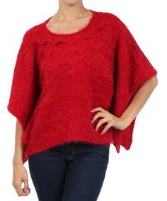 Take a look at this Michael K Red Knit Cape-Sleeve Top on zulily today!
