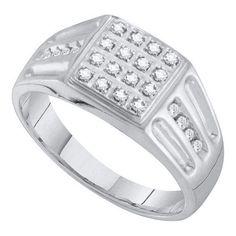 1/4CT-Diamond MENS RING WG