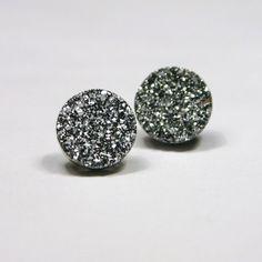 Silver Druzy Stud Earrings Metallic Circle Round Small Bold Genuine Titanium Drusy Quartz Gemstone Jewelry for Women Sterling Silver Posts