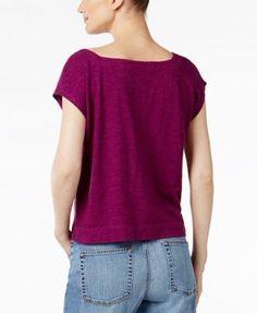 Eileen Fisher Organic Cotton-Blend Cropped Boxy Top, Regular & Petite - Green XXS