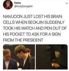 Hey but he was prepared at least lol XD Bts Namjoon, Bts Jin, Bts Bangtan Boy, Bts Boys, Hoseok, Taehyung, Seokjin, Namjin, Btob