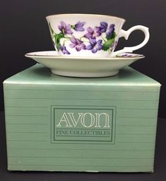 Avon Blossoms of the Month Cup/Saucer Set 1991 Mint Condition February Violet