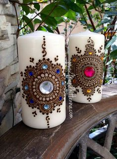 candle is decorated with real henna and gems. *Decoration only; Diwali Candles, Henna Candles, Bottle Art, Bottle Crafts, Diy Candles Easy, Diy And Crafts, Arts And Crafts, Candle Art, Ramadan Decorations