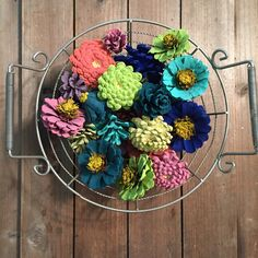 Painted Pinecones, Basket Fillers, Bowl Fillers, Painted Zinnias, Daisy and…