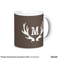 Coffee Mug with Deer Antlers Hunting Custom monogram....