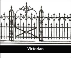 """Victorian Iron Fence - Detailing adds interest to a long-cherished pattern; 1"""" solid line posts."""