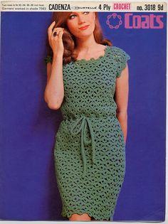 Instant Download  VKNC366. Crochet Ladies sixties 60s retro crochet dress Pattern daytime festival UK