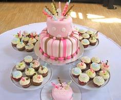 Arielle's 1st birthday cake & cupcakes