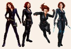 The Evolution of Natasha Romanoff. Black Widow concept art: Iron Man 2 vs The Avengers vs Captain America: the Winter Soldier vs Avengers: Age of Ultron The Avengers, Marvel Avengers Comics, Marvel Avengers Assemble, Marvel Heroes, Marvel Dc, Black Widow Cosplay, Black Widow Costume, Scarlett Johansson, Black Widow