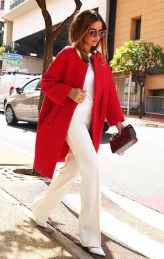 Red coat, total white outfit and cat eye sunnies = perfect Christmas days – www…. Red coat, total white outfit and cat eye sunnies = [. Basic Fashion, Fashion Mode, Look Fashion, Winter Fashion, Fashion Outfits, Womens Fashion, Fashion Trends, Dress Fashion, Latest Fashion