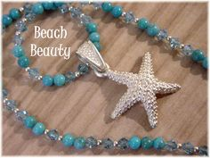 Sterling Silver Starfish Pendant -  Star Fish Barse Turquoise & Blue Swarovski Crystal Bead Necklace - A Day At The Beach - FREE SHIPPING by FindMeTreasures on Etsy